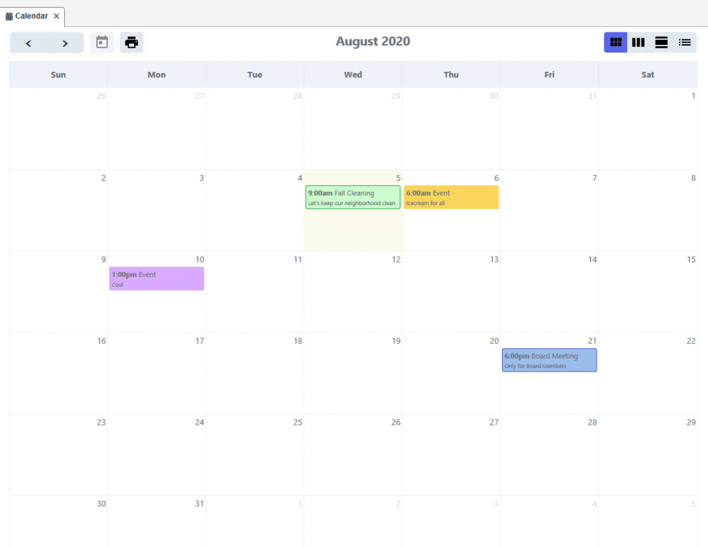 HOA Calendar Display