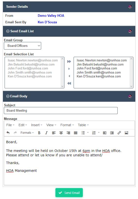 HOA Email Blast by RunHOA