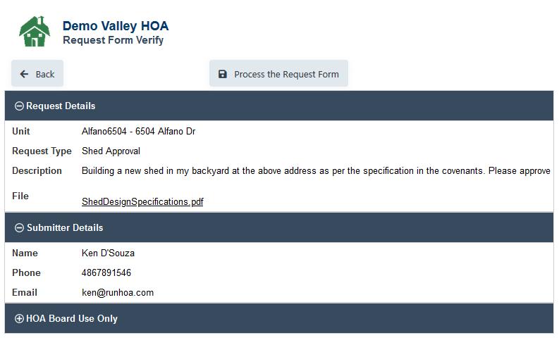 RunHOA HOA Request Form Reviewed
