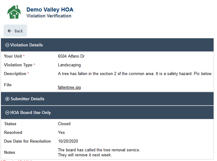 HOA Violations Verification