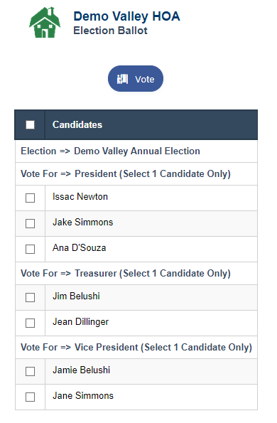 RunHOA HOA Election Ballot
