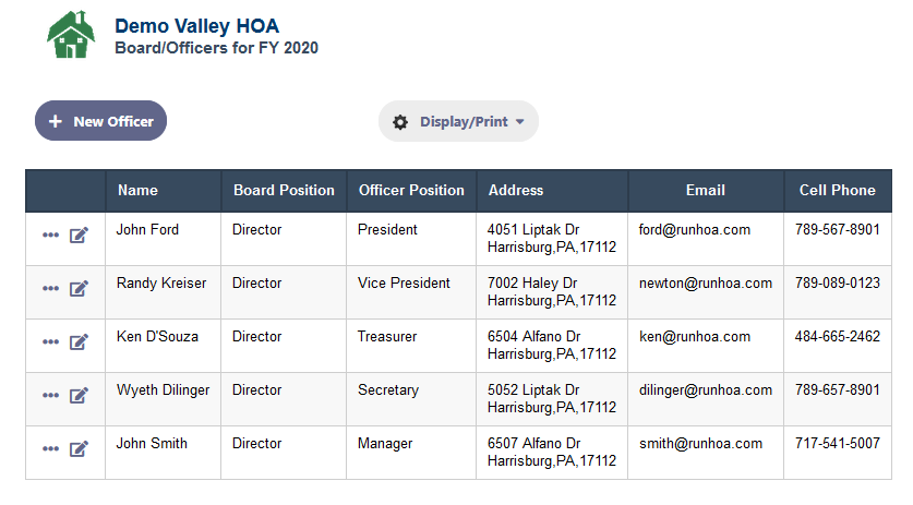 Keeping a list of the HOA Board of Directos/Officers in RunHOA