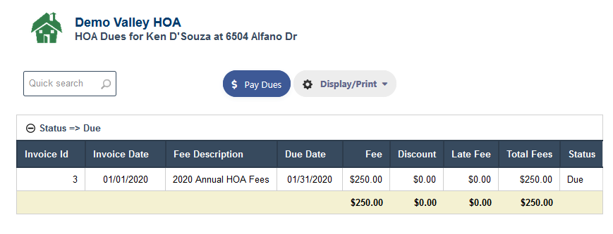 Pay Dues Online in RunHOA